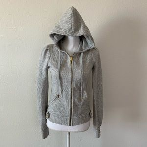 Juicy Couture Quilted Sweatshirt M Gray Hoodie